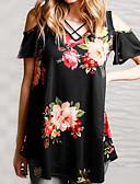 economico Bluse da donna-T-shirt Per donna Moderno Fantasia floreale A V Blu M / Taglia piccola