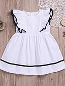 お買い得  女児 ドレス-子供 / 幼児 女の子 甘い / かわいいスタイル 日常 ソリッド ラッフル 半袖 ドレス ホワイト