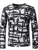 abordables Camisetas y Tops de Hombre-Hombre Camiseta, Escote Chino Bloques Blanco L / Manga Larga