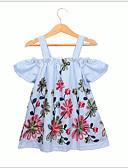 お買い得  女児 ドレス-子供 / 幼児 女の子 甘い / かわいいスタイル 幾何学模様 半袖 ドレス ライトブルー