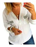 olcso Póló-V-alakú Női Ing - Egyszínű Fehér L