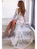 Χαμηλού Κόστους Μακριά Φορέματα-Γυναικεία Πάρτι Κομψό Θήκη Φόρεμα Δαντέλα Μακρύ Βαθύ V / Sexy