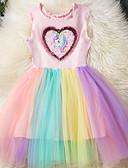Χαμηλού Κόστους Φορέματα για κορίτσια-Παιδιά Κοριτσίστικα Βασικό Ουράνιο Τόξο / Patchwork Αμάνικο Φόρεμα Ανθισμένο Ροζ