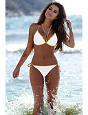 cheap Bikinis-Women's Basic White Black Bandeau Cheeky Bikini Swimwear - Solid Colored Backless M L XL White