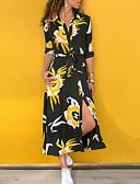 billige Maxikjoler-Dame Swing Kjole Blomster Trykt mønster Skjortekrage Maksi