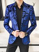 abordables Americanas y Trajes de Hombre-Hombre Blazer, Floral Solapa de Pico Poliéster Azul Piscina 54 / 56 / 58