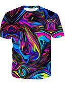 お買い得  メンズTシャツ&タンクトップ-男性用 プリント Tシャツ ラウンドネック 幾何学模様 / 3D / 虹色 コットン レインボー XL / 夏