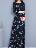 cheap Maxi Dresses-Women's Basic Chinoiserie Swing Dress - Geometric Print Black Red Navy Blue XL XXL XXXL