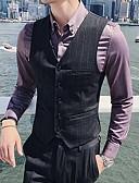 お買い得  メンズブレザー&スーツ-男性用 ベスト, ソリッド Vネック ポリエステル ダックグレー / パープル XL / XXL / XXXL