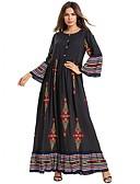 abordables Vestidos de Mujer-Mujer Vintage Boho Corte Swing Abaya Vestido - Estampado, Geométrico Maxi