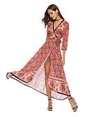 tanie Print Dresses-Damskie Boho Szyfon Sukienka - Plemienny, Wiązanie Nadruk Wrap Maxi