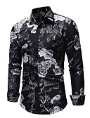 cheap Men's Shirts-Men's EU / US Size Slim Shirt - Floral Black XL