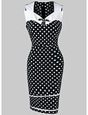 זול שמלות במידות גדולות-צווארון V עד הברך דפוס, מנוקד - שמלה צינור רזה בסיסי בגדי ריקוד נשים
