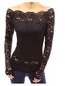 hesapli Bluz-Kadın's Düşük Omuz Tişört Solid Siyah