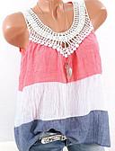 cheap Women's Blouses-Women's Plus Size Cotton Slim Tank Top - Color Block V Neck Blushing Pink XXXL
