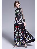 Χαμηλού Κόστους Γυναικεία Φορέματα-Γυναικεία Κομψό Swing Φόρεμα - Γεωμετρικό, Patchwork Μακρύ
