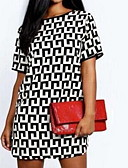cheap Print Dresses-Women's Shirt Dress - Geometric Print Summer Black L XL XXL