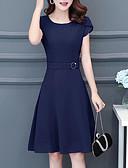 cheap Women's Dresses-A Line Chiffon Dress Women's Sophisticated Elegant - Solid Colored Pleated Black Navy Blue Wine XXL XXXL XXXXL