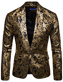 cheap Men's Blazers & Suits-Men's Blazer, Floral Shirt Collar Cotton / Acrylic Black / Wine / Royal Blue XL / XXL / XXXL