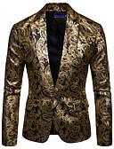hesapli Erkek Gömlekleri-Erkek Blazer, Çiçekli Gömlek Yaka Pamuklu / Akrilik Siyah / Şarap / Navy Mavi