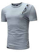 billige T-shirts og undertrøjer til herrer-Rund hals Herre - Ensfarvet EU / US størrelse T-shirt Sort L