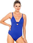 hesapli One-piece swimsuits-Kadın's Temel Navy Mavi Boyundan Bağlamalı Yarım Tanga Tek Parçalılar Mayolar - Solid Arkasız M L XL Navy Mavi