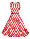 povoljno Vintage kraljica-Žene Vintage Swing kroj Haljina - Print, Na točkice Midi