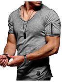 お買い得  メンズTシャツ&タンクトップ-男性用 Tシャツ ラウンドネック ソリッド ホワイト XXL