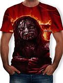 お買い得  メンズTシャツ&タンクトップ-男性用 プリント Tシャツ カラーブロック / 3D / トライバル