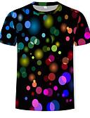 levne Košile-Pánské - Puntíky / Duhová EU / US velikost Tričko Kulatý Štíhlý Duhová XL