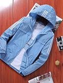 hesapli Erkek Ceketleri ve Kabanları-Erkek Günlük Temel Yaz / İlkbahar yaz Büyük Bedenler Uzun Ceketler, Solid Siyah ve Beyaz Kapşonlu Uzun Kollu Polyester Siyah / Gri / Açık Mavi