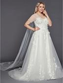 povoljno Vjenčanice-A-kroj Do poda Til Izrađene su mjere za vjenčanja s Aplikacije po LAN TING BRIDE®