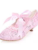 cheap Women-Women's Lace / Satin Spring & Summer Sweet Wedding Shoes Cone Heel Round Toe Ribbon Tie Black / Pink / Ivory / Party & Evening