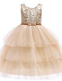 hesapli Elbiseler-Çocuklar / Toddler Genç Kız Actif / Tatlı Zıt Renkli Dantel / Payetler / Çoklu Katman Kolsuz Maksi Pamuklu / Polyester Elbise Altın
