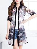 billige Dame Trench Coats-Dame Daglig Gatemote Lang Trenchcoat, Geometrisk Skjortekrage Halvlange ermer Polyester Rød / Grå