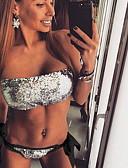 cheap Bikinis-Women's Brown Green Silver Bikini Swimwear - Solid Colored M L XL Brown