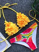 cheap Bikinis-Women's Basic Blue Yellow Triangle Cheeky Tankini Swimwear - Floral Fruit Backless S M L Blue