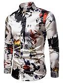 cheap Men's Shirts-Men's Party Street chic Shirt - Color Block Print Classic Collar Gray L / Long Sleeve