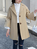お買い得  女児ジャケット&コート-子供 女の子 活発的 / ストリートファッション 日常 / お出かけ ソリッド スリット 長袖 ロング レーヨン / ポリエステル トレンチコート ピンク