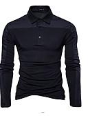 preiswerte Herren Polo Shirts-Herrn Solide Baumwolle Polo, Hemdkragen Schwarz L