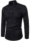 お買い得  メンズブレザー&スーツ-男性用 EU / USサイズ シャツ ソリッド ネイビーブルー L