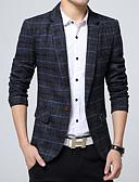 billige Herreblazere og jakkesæt-Herre Blazer, Ternet / Ruder Hakrevers Uld / Polyester Navyblå / Grå / Kakifarvet XL / XXL / XXXL