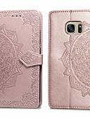 olcso Mobiltelefon tokok-Case Kompatibilitás Samsung Galaxy S7 Kártyatartó / Flip Héjtok Egyszínű Puha PU bőr mert S7