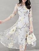 abordables Vestidos Estampados-Mujer Sofisticado Elegante Gasa Vestido - Plisado Estampado, Geométrico Midi