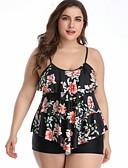 זול בגדי ים במידות גדולות-פול XL XXL XXXL פרחוני, בגדי ים טנקיני פול שחור בגדי ריקוד נשים