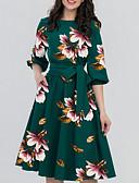 זול שמלות במידות גדולות-עד הברך פרחוני - שמלה גזרת A אלגנטית בגדי ריקוד נשים