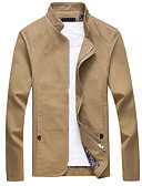 cheap Men's Jackets & Coats-Men's Daily Fall Regular Jacket, Solid Colored Stand Long Sleeve Polyester Beige / Navy Blue / Khaki XXXL / XXXXL / XXXXXL