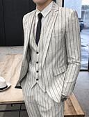お買い得  メンズブレザー&スーツ-男性用 スーツ, ストライプ ノッチドラペル ポリエステル ベージュ XXL / XXXL / XXXXL