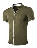 billige Herreskjorter-V-hals Herre - Farveblok Skjorte Sort L / Kortærmet