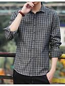 お買い得  メンズTシャツ&タンクトップ-男性用 シャツ チェック ブラウン XXL